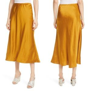 Club Monaco • Bias Satin Linen Blend Midi Skirt